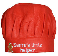Children's Christmas Chef Hat Red Felt Santa's Little Helper Xmas Kids Cook