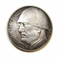 20 LIRES 1943 / ITALY / MUSSOLINI / EXONUMIA SILVERED COIN - TOKEN