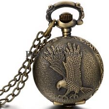 Antique Bronze Eagle Hawk Wing Quartz Pocket Watch Pendant  Mens Womens Necklace