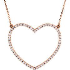 Diamante Corazón Grande 41.9cm Collar en 14k oro rosa ( 1/2 Ct. TW