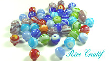 Lot MIX 30 Perles Rondes 12mm en VERRE Bicolores Multicolores Artisanales