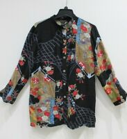 Citron Santa Monica button up long sleeve tunic shirt black floral kimono M silk