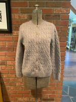 Gray 100% Wool Cable Knit Cardigan Women's Sweater Appleseed's Size Petite S EUC