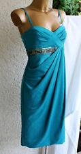 seidiges Comma Etui Kleid türkis blau wie NEU 38 wickel-optik Perlen pailletten