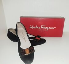 Vintage Vera Salvatore Ferragamo flats w/crocodile leather brown bow 8 1/2