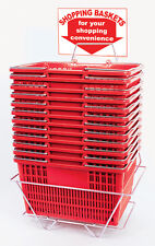 Plastic Shopping Basket Retail Grocery Store Stand Sign Holder Set of 12 Red New