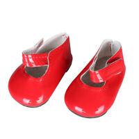 Chaussures de Poupée Rouge Plates Collantes Pour 18'' AG American Doll Dolls