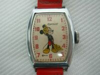 AUTHENTIC VTG 1948 INGERSOLL MICKEY MOUSE ANALOG WATCH w RED PATENT LEATHER BAND