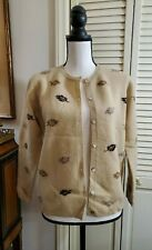 Talbots Leaf Autumn Camel Tan Lambs wool Cardigan Sweater Sz S