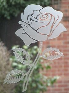 GREEN/RED OR ETCHED STICKER. ROSE, FLOWER, PATIO DOOR, WINDOW, SHOWERS 280mm