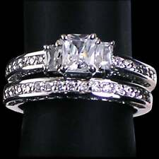 Wedding Set_Sz-7_925 Sterling Silver-Nf *Precious*_Radiant Cut 3-Stone Clear Cz