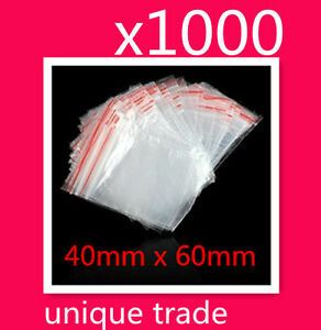 1000 40mm x 60mm Resealable Zip Lock Plastic Bags Small Seal ZipLock Bags 4 x6cm