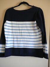 Great Northwest Sweater Sz S Long  Sleeves 100% Cotton Blues Boat Neck Stripe