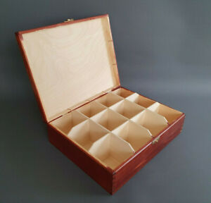 Wooden Handmade Red Tea Bags 12 Compartment Storage Box Kitchen Decoration