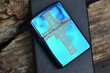 Zippo Lighter - Jewelry Heart & Cross - Celtic - Blue Sapphire - Gothic - 854037
