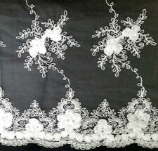 "SCALLOPED FLORAL LACE ON SHEER MESH 56"" WHITE FABRIC BY THE YARD"