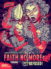 FAITH NO MORE / REFUSED silkscreened poster Columbia 2015 by Zombie Yeti