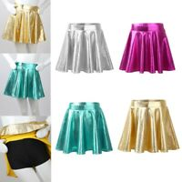 Kids Girls Glossy Metallic Pleated A-Line Mini Skater Skort Athletic Tutu Skirt