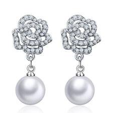 Elegant Solid 925 Sterling Silver Zircon Roses Flower Ear Stud Drop Earrings