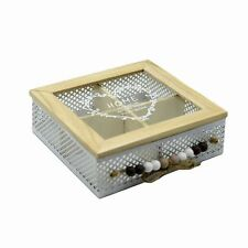 "Caja para infusiones cuadrada decorada con ""perlitas"" metal-madera tapa cristal"