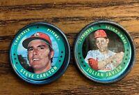 1971 Topps COINS #115 Steve Carlton and #39 Julian Javier - Cardinals