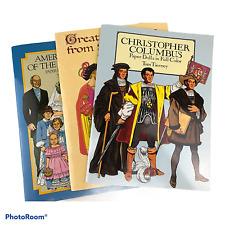 Lot of 3 Paper Doll Books Civil War, Columbus & Shakespear