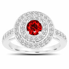 Enhanced Red Diamond Engagement Ring 14K White Gold Double Halo Unique 1.05ct