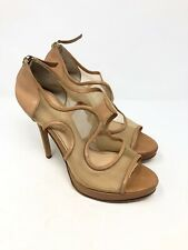 JEROME C. ROUSSEAU patent leather and mesh nude cutout sandals heels sz 41