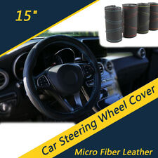 Universal 38cm Car Steering Wheel Cover Breathable Anti-wear PU Leather Black