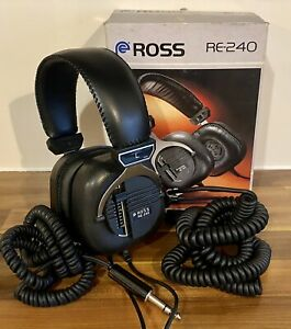 Ross RE-240 Vintage 1970's Stereo Headphones With Cable Extender & Original Box