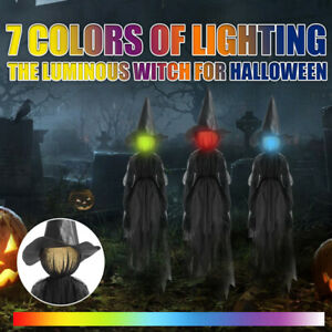 Halloween Witch Stakes Ornaments 7-Color Lights Battery Party Garden Yard Decor