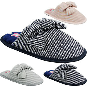 New Womens Ladies Slip On Mules Bow Stripe Low Wedge Comfort Slippers Shoes Size