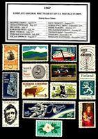 1967 COMPLETE YEAR SET OF MINT -MNH- VINTAGE U.S. POSTAGE STAMPS