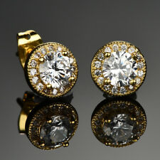 5mm Round Cut Moissanite Surround CZ Jewelry Yellow Gold GP Stud Earrings Gift