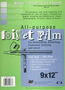 "Grafix Frisket Film Matte All Purpose Masking Film 9"" x 12"" Low Tack 12 Sheets"