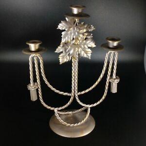 VIntage Cast Metal Candle Holder Candelabra Leaves Rope Silver Gold Design