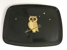 Couroc Monterey Owl Inlay Black Serving Tray 12 x 9 Mid Century Modern Vintage