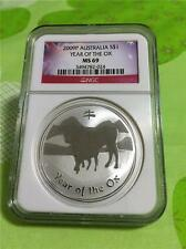 2009-P AUSTRALIA  $1 YEAR OF THE OX 1 OZ..999 SILVER NGC MS 69 GEM BU