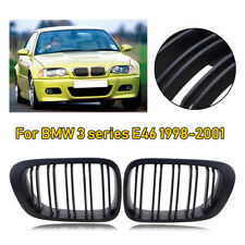 FOR BMW E46 2D COUPE FRONT GRILL GRILLE HOOD KIDNEY COVER MATTE BLACK LEFT+RIGHT