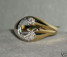 """SOLID   14K Gold    DIAMOND   Initial  """" G """"  Signet    Ring"""