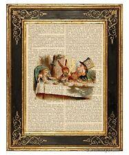 Alice in Wonderland Art Print on Vintage Book Page Mad Tea Party Hatter Color
