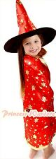 Halloween Party Props Witch Costume Red Star Cape Cloak Shawl Hat 2PC Girl 3-7Y
