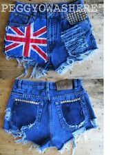 VTG HIGH WAIST CUT OFF DENIM SHORTS stud moto PUNK ENLISH FLAG UNION JACK