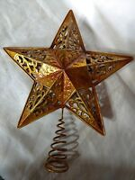 Gold Tone Metal Xmas Tree Top Topper Decoration Wire Swirl Spring
