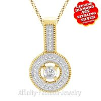 1/3 Ct Natural Diamond 14K Yellow Gold Over Halo Pendant With Chain