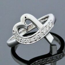 Tiffany&Co. Paloma Picasso 18K White Gold Loving Heart Diamond Band Ring Size 6