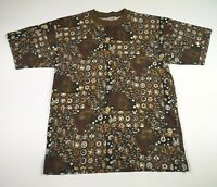 VINTAGE 80s 90s Mens T-Shirt Size Medium Tee Top Geometric Ethnic Western Crew