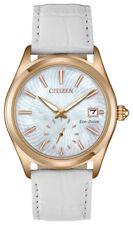 Citizen Eco-Drive Corso Women's EV1033-08D Rose Gold Case White Band 36mm Watch