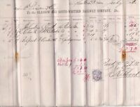 Glasgow & South-Western Railway Co. 1882 Plates&GudgeonsPaid Stamp invoice 49143