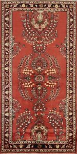 Vintage Traditional Floral Oriental Runner Rug Wool Hand-knotted RED Carpet 3x7